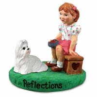 Shih Tzu White Reflections w/Girl Figurine