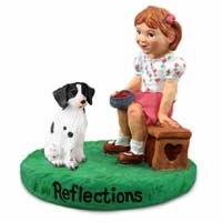 Brittany Liver & White Spaniel Reflections w/Girl Figurine
