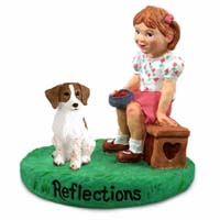 Brittany Brown & White Spaniel Reflections w/Girl Figurine