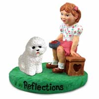 Bichon Frise Reflections w/Girl Figurine
