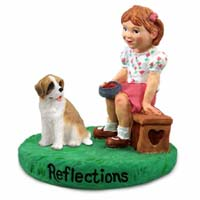 Saint Bernard w/Rough Coat Reflections w/Girl Figurine