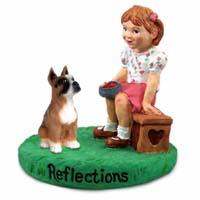 Boxer Brown Reflections w/Girl Figurine