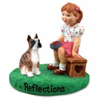 Boxer Brindle Reflections w/Girl Figurine