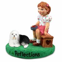 Old English Sheepdog Reflections w/Girl Figurine