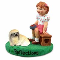 Pekingese Reflections w/Girl Figurine