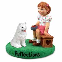 Samoyed Reflections w/Girl Figurine