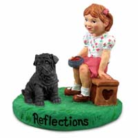 Shar Pei Black Reflections w/Girl Figurine