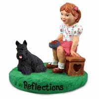 Scottish Terrier Reflections w/Girl Figurine