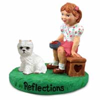 West Highland Terrier Reflections w/Girl Figurine