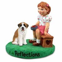 Saint Bernard w/Smooth Coat Reflections w/Girl Figurine