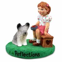 Skye Terrier Reflections w/Girl Figurine