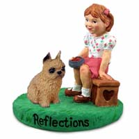 Brussels Griffon Red Reflections w/Girl Figurine