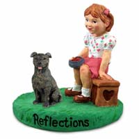 Staffordshire Bull Terrier Brindle Reflections w/Girl Figurine