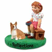 Welsh Corgi Pembroke Reflections w/Girl Figurine