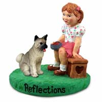 Akita Gray Reflections w/Girl Figurine