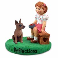 Miniature Pinscher Red & Brown Reflections w/Girl Figurine