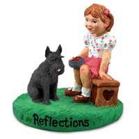Schnauzer Giant Black Reflections w/Girl Figurine
