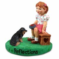 Dachshund Longhaired Black Reflections w/Girl Figurine