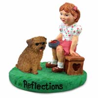 Norfolk Terrier Reflections w/Girl Figurine