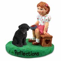 Portuguese Water Dog Reflections w/Girl Figurine