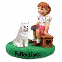 American Eskimo Reflections w/Girl Figurine