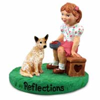 Australian Cattle Red Dog Reflections w/Girl Figurine