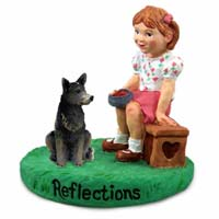 Australian Cattle Blue Dog Reflections w/Girl Figurine