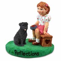 Bouvier des Flandres Reflections w/Girl Figurine