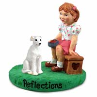 Whippet White Reflections w/Girl Figurine