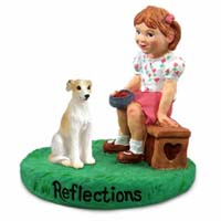 Whippet Tan & White Reflections w/Girl Figurine