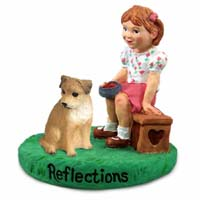 Border Terrier Reflections w/Girl Figurine