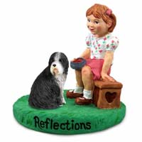 Bearded Collie Reflections w/Girl Figurine