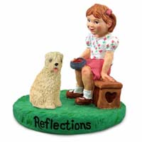 Soft Coated Wheaten Terrier Reflections w/Girl Figurine