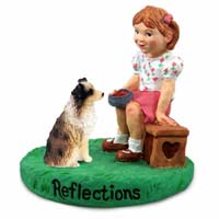 Australian Shepherd Brown w/Docked Tail Reflections w/Girl Figurine