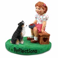Australian Shepherd Tricolor w/Docked Tail Reflections w/Girl Figurine