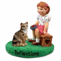 Brown Shorthaired Tabby Cat w/Girl Figurine