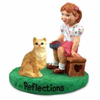 Red Shorthaired Tabby Cat w/Girl Figurine