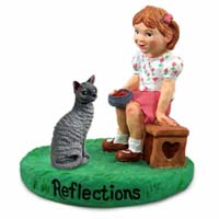 Blue Cornish Rex Cat w/Girl Figurine