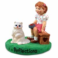 White Persian Cat w/Girl Figurine
