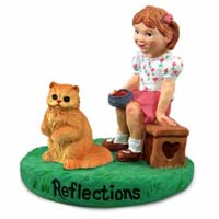 Red Persian Cat w/Girl Figurine