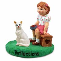 White Oriental Cat w/Girl Figurine