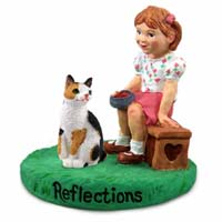 Tortoise & White Japanese Bobtail Cat w/Girl Figurine