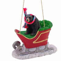 Bear Black Sleigh Ride Ornament