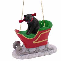 Panther Sleigh Ride Ornament