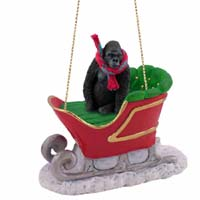 Gorilla Sleigh Ride Ornament
