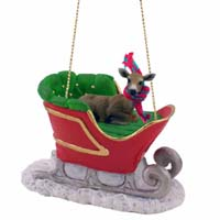 Deer Doe Sleigh Ride Ornament
