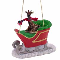 Giraffe Sleigh Ride Ornament