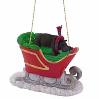 Hippopotamus Sleigh Ride Ornament
