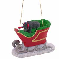 Rhinoceros Sleigh Ride Ornament