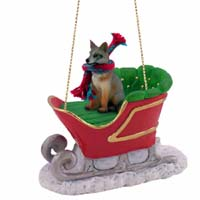 Fox Gray Sleigh Ride Ornament